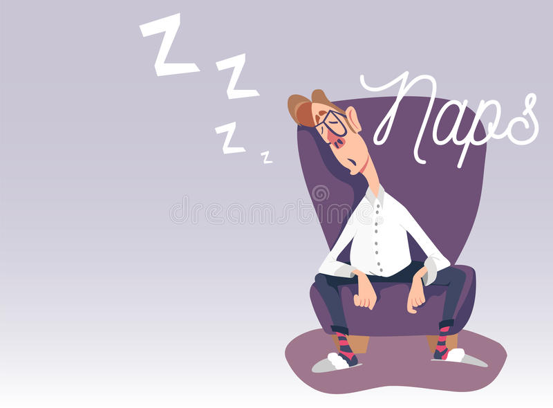 Vector illustration of dad sitting in an armchair and napping. Vector illustration of dad sitting in an armchair, taking a nap, sleeping, having rest. Naps royalty free illustration