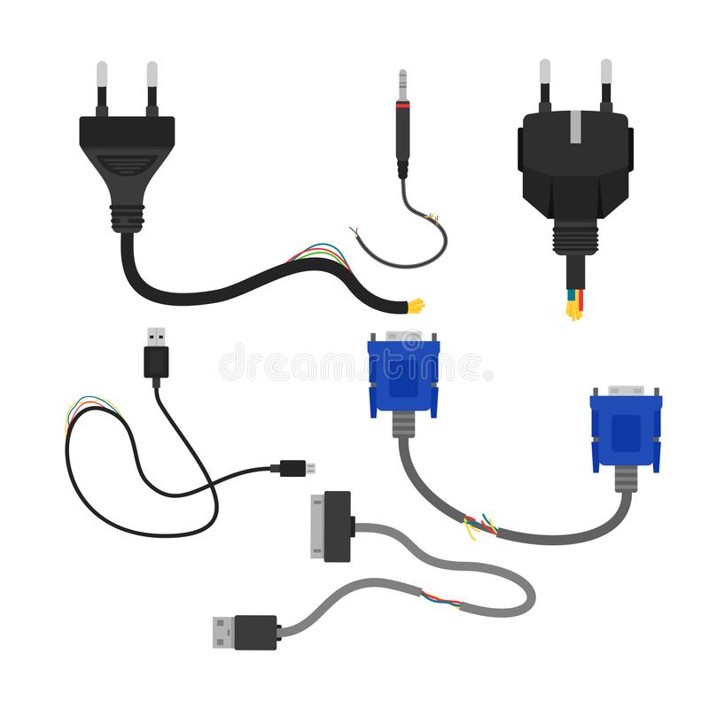Vector illustration of damaged broken electric cables collection isolated on white background. Cable cut, vga and usb in. Flat cartoon style vector illustration