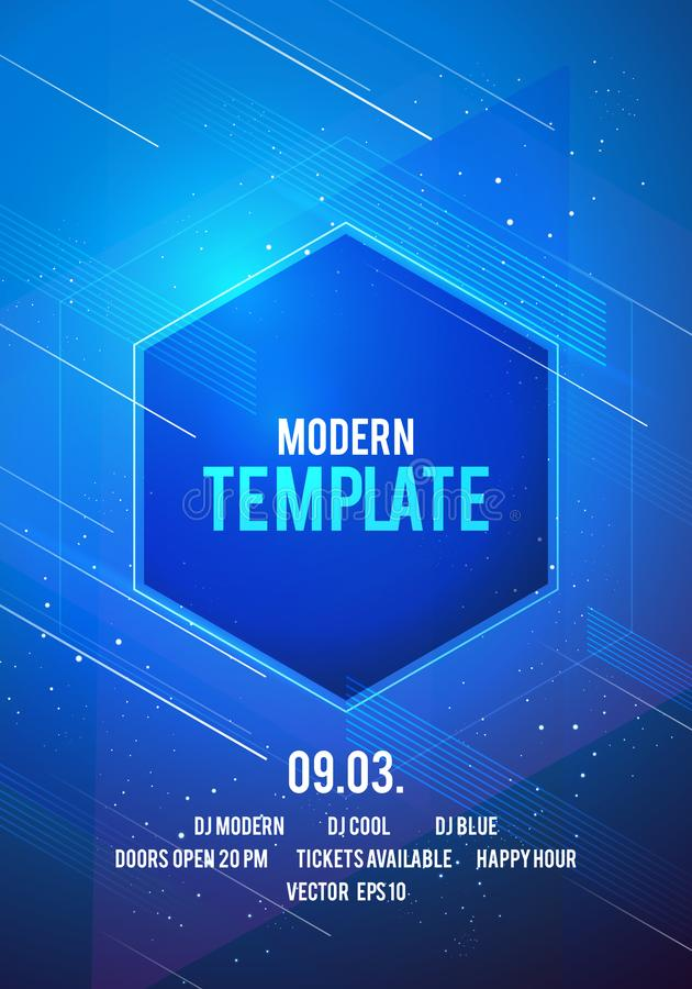 Vector illustration dance party poster background template with glow, lines, highlight and modern geometric shapes. In blue colors. Music event flyer or stock illustration