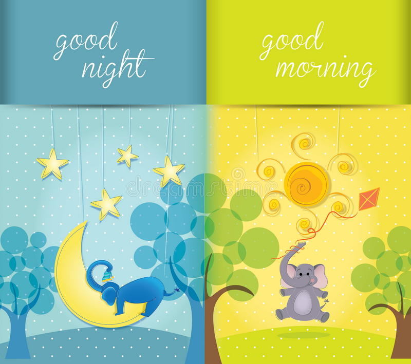 Vector illustration of day and night royalty free stock photography