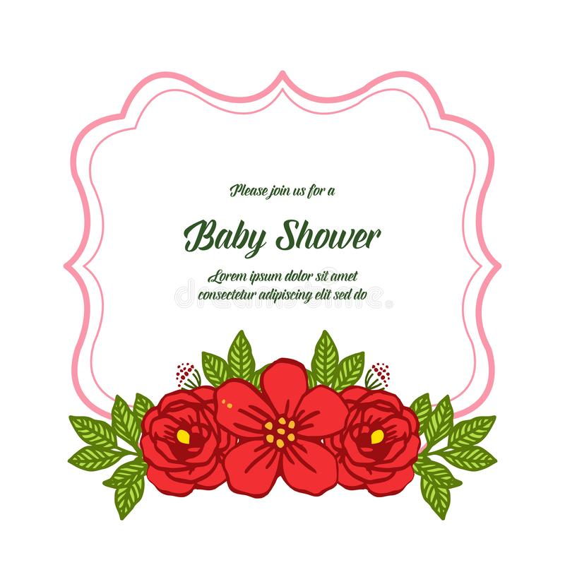 Vector illustration decorative of card baby shower with very beautiful red rose wreath frame. Hand drawn vector illustration