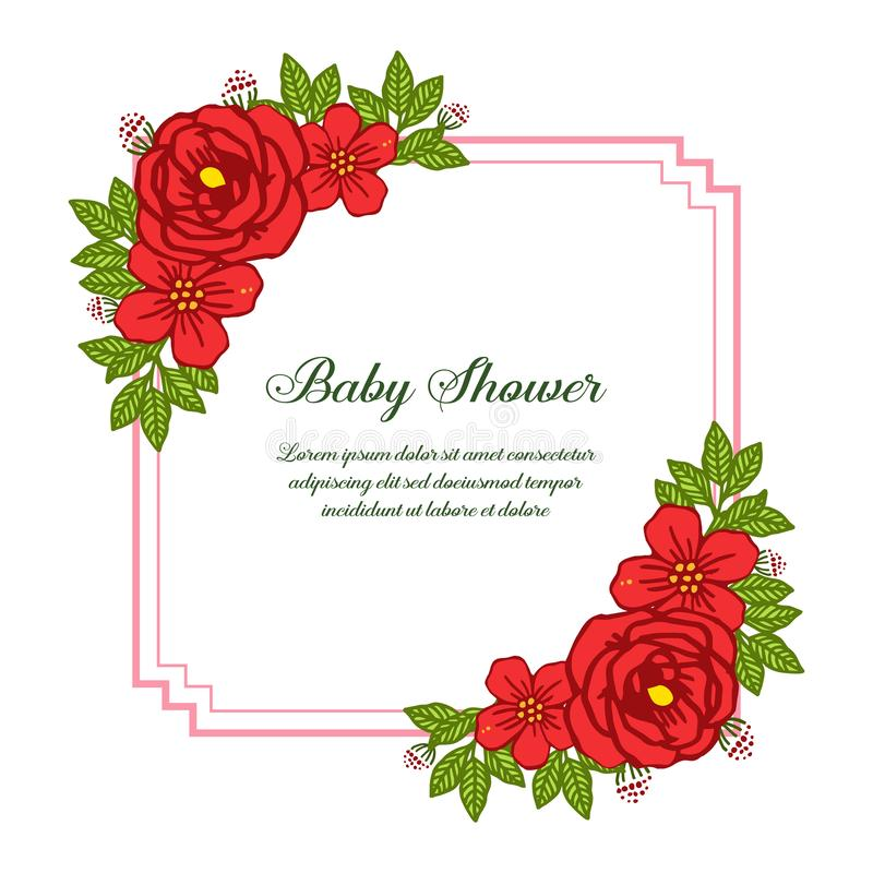 Vector illustration decorative of card baby shower with very beautiful red rose wreath frame. Hand drawn royalty free illustration