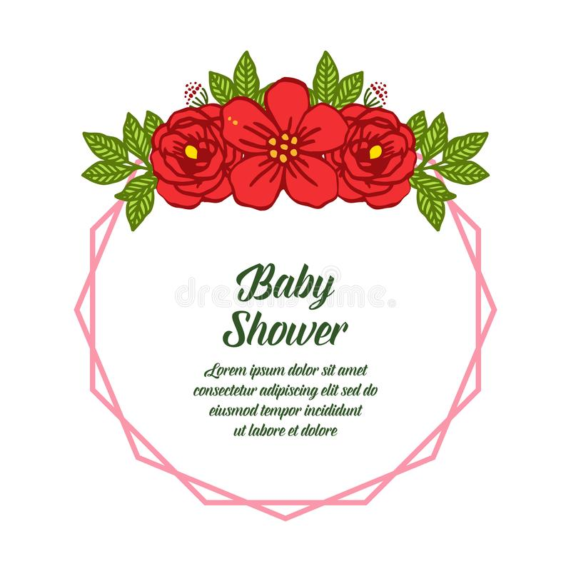 Vector illustration decorative of card baby shower with very beautiful red rose wreath frame. Hand drawn stock illustration