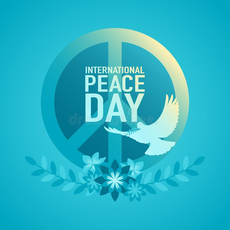 Decorative Peace Symbol for International Day of Peace. Vector illustration of decorative peace symbol for International Day of Peace or World Peace Day royalty free illustration