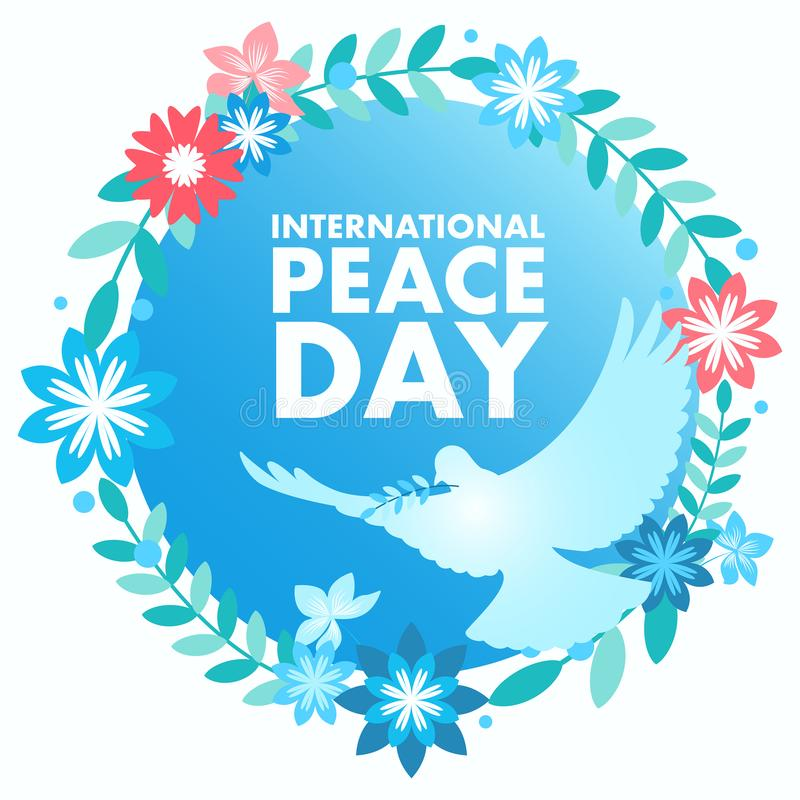 Decorative Peace Symbol for International Day of Peace stock illustration