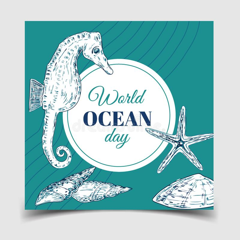 World Oceans Day. The celebration dedicated to help protect world oceans, vector illustration