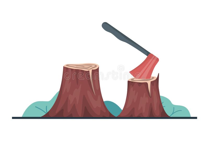 Vector illustration of deforestation concept. Axe in the stump, royalty free illustration