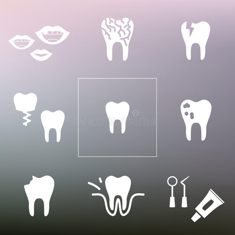Dental problems back. Vector illustration / dental problems icons / dentist tools / teeth health care stock illustration
