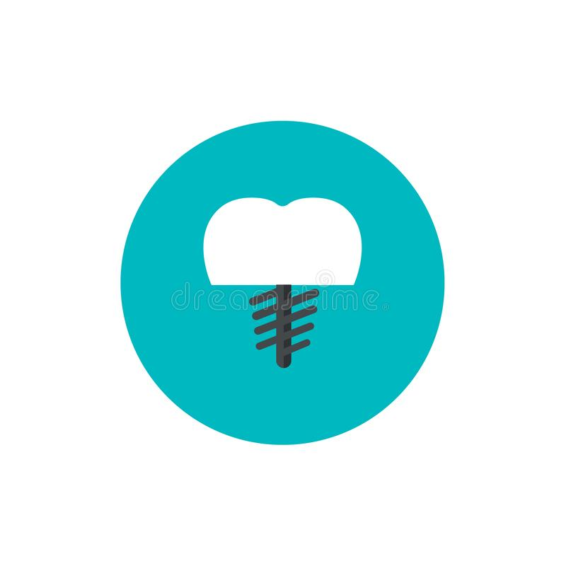 Dental core flat icon on green circle background vector illustration