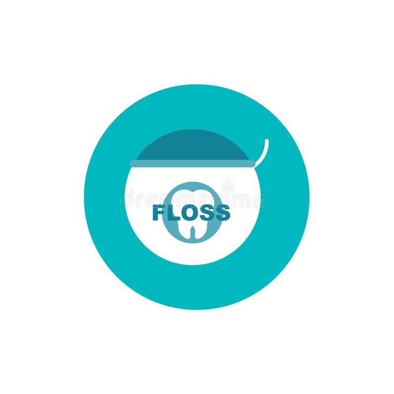 Dental floss flat icon on green circle background vector illustration