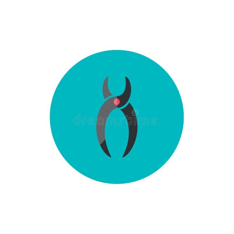 Dental forceps flat icon on green circle stock illustration