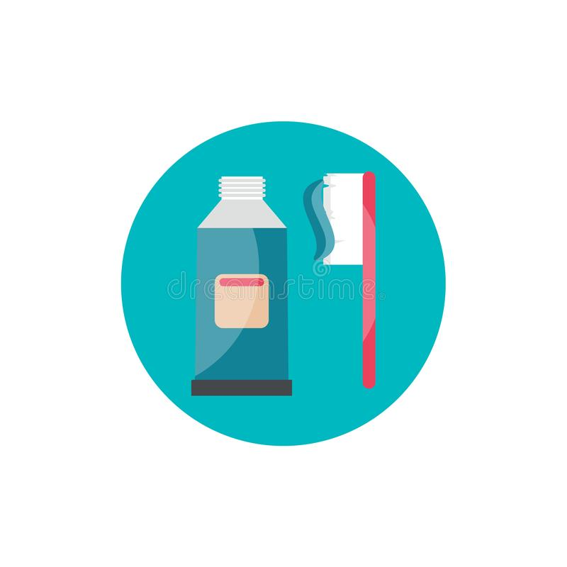Dental cleaning brush and toothpaste flat icon stock illustration