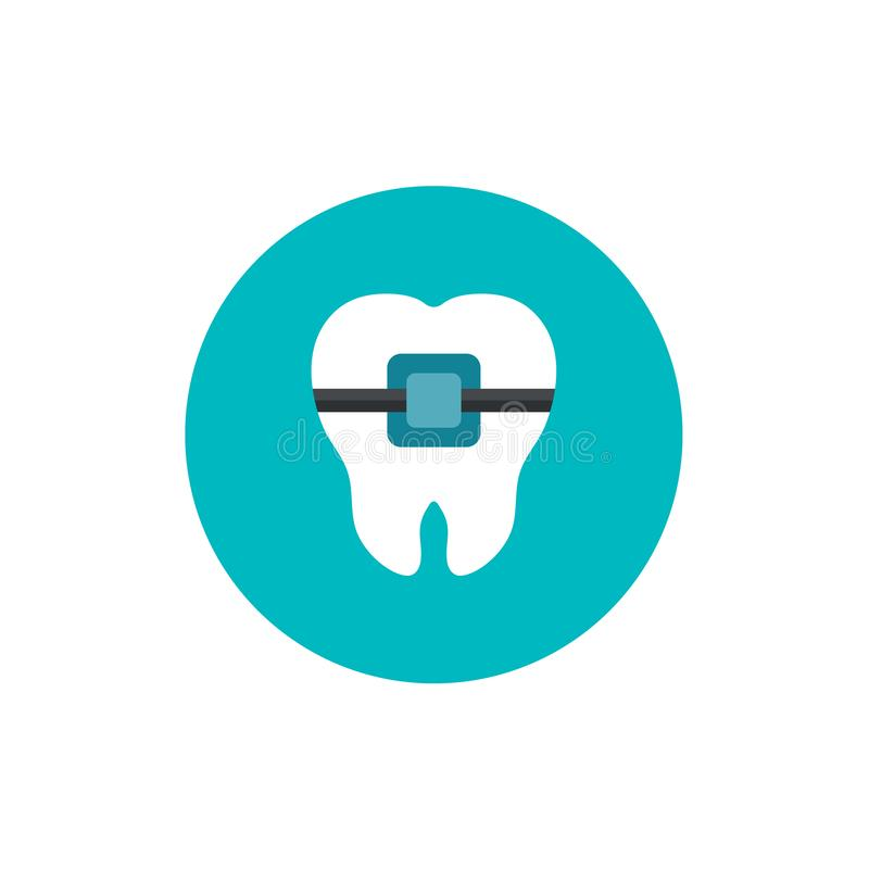 Tooth braces flat icon on green circle background royalty free illustration