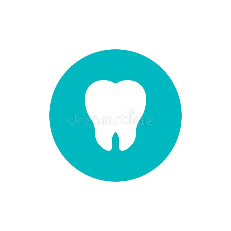 Tooth flat icon on green circle background royalty free illustration