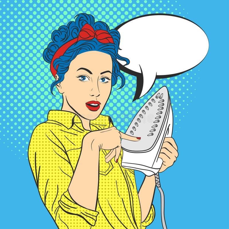 Vector Illustration der überraschten Frau der Pop-Art schöne Junge lizenzfreie abbildung