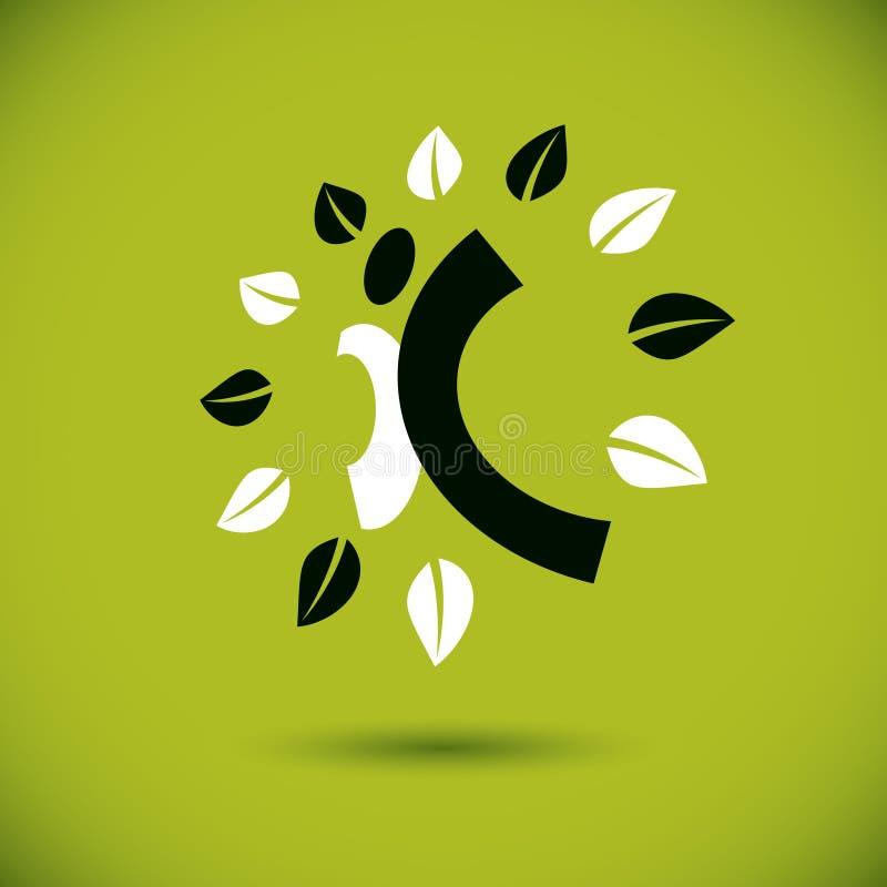 Vector Illustration der aufgeregten abstrakten Person mit den angehobenen Händen oben Gehen kreatives Logo Idee der grünen Wander stock abbildung