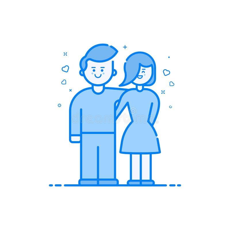 Vector Illustration der blauen Ikone in der flachen Linie Art Linearer blauer netter und glücklicher Junge und Mädchen stock abbildung