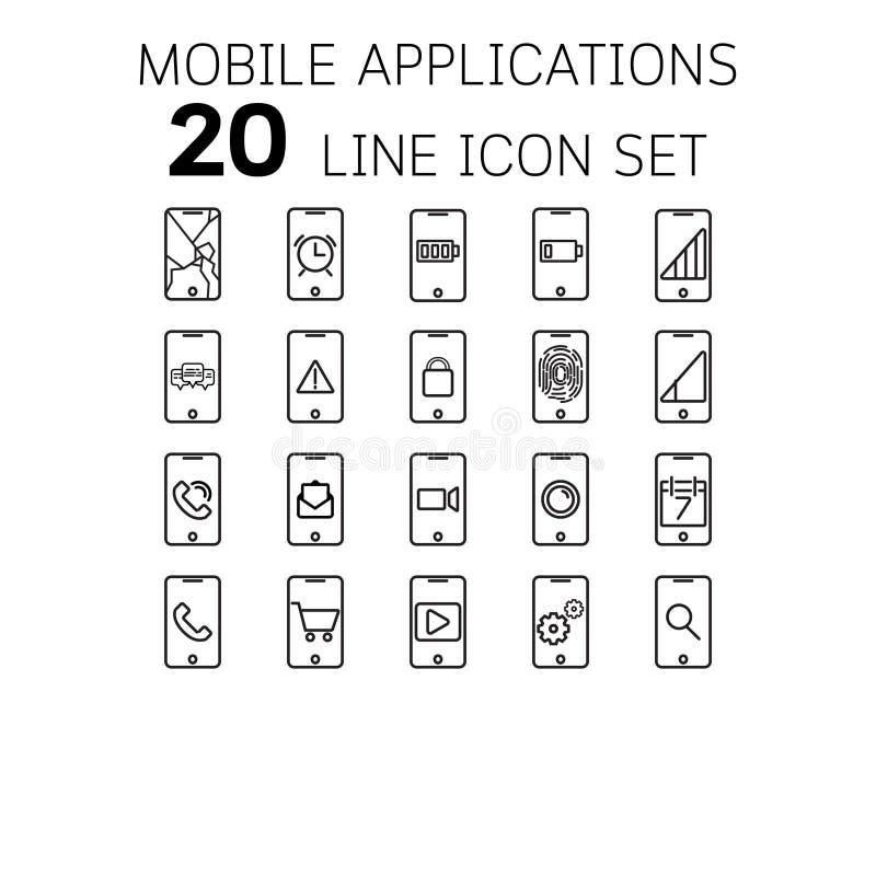 Vector Illustration der dünnen Linie Ikonen für bewegliche Anwendungen lizenzfreies stockbild