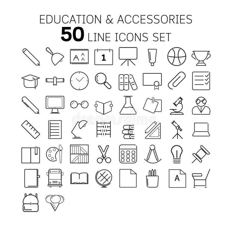 Vector Illustration der dünnen Linie Ikonen für Bildung und Zubehör lizenzfreie stockfotos