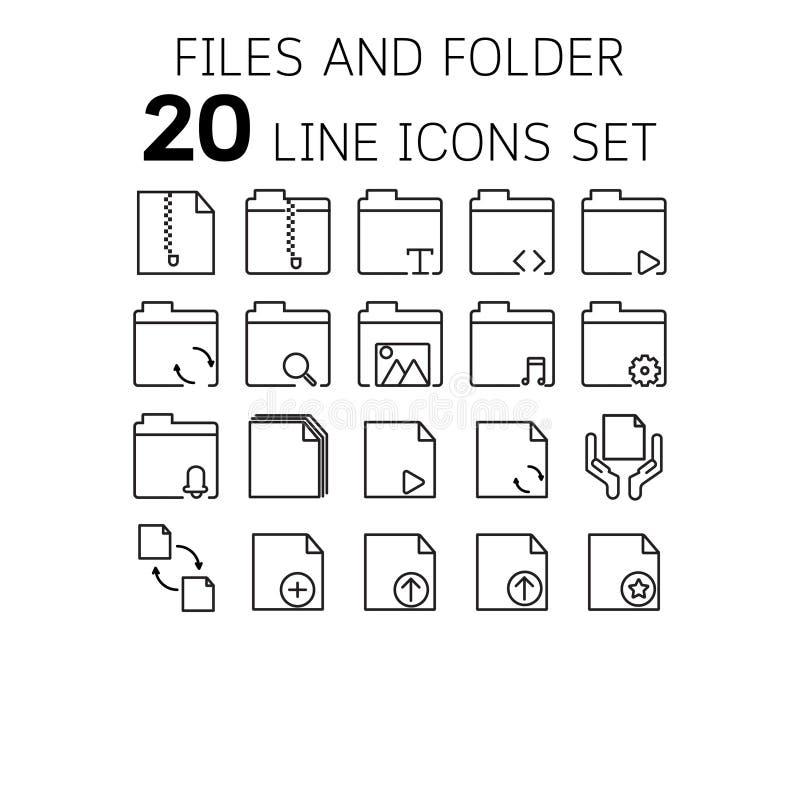 Vector Illustration der dünnen Linie Ikonen für Dateien und Ordner stockbilder