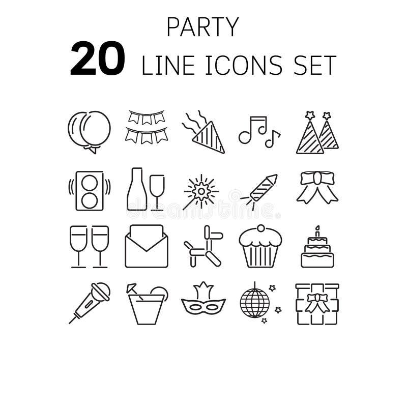 Vector Illustration der dünnen Linie Ikonen für Partei lizenzfreies stockbild