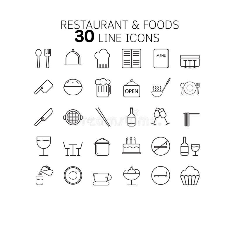 Vector Illustration der dünnen Linie Ikonen für Restaurant und Nahrungsmittel lizenzfreie stockbilder