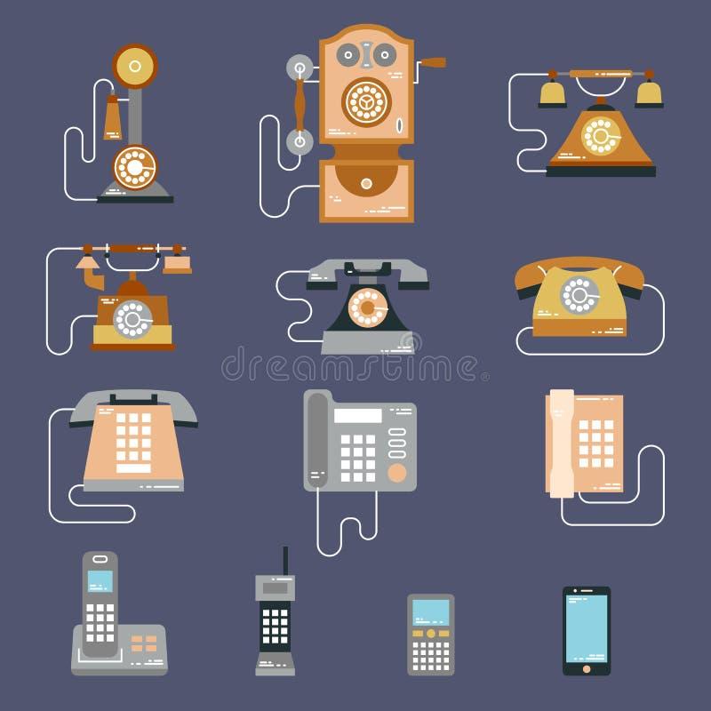 Vector Illustration der Entwicklung der Datenendeinrichtungen vom klassischen Telefon zum modernen Handy Retro- Weinleseikonen lizenzfreie abbildung