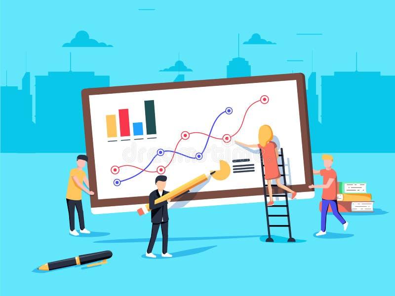 Vector Illustration in der flachen Art und in der blauen Farbe Geschäftsanalytik und Marketing-Konzept Team, das an Geschäft arbe stock abbildung