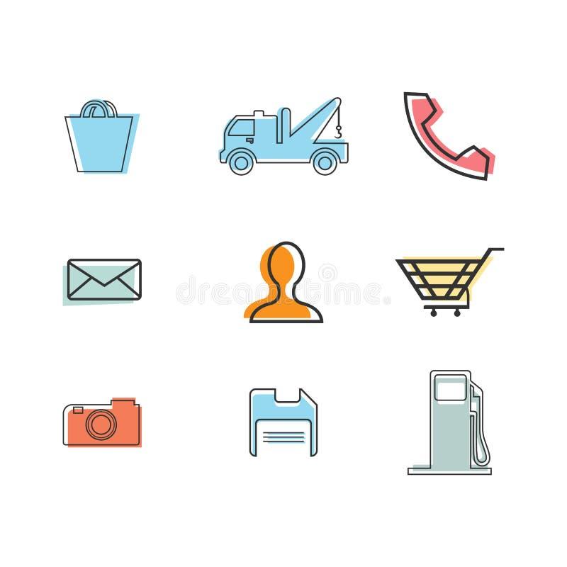 Vector Illustration der flachen dünnen Linie Geschäftsikonen lizenzfreie abbildung