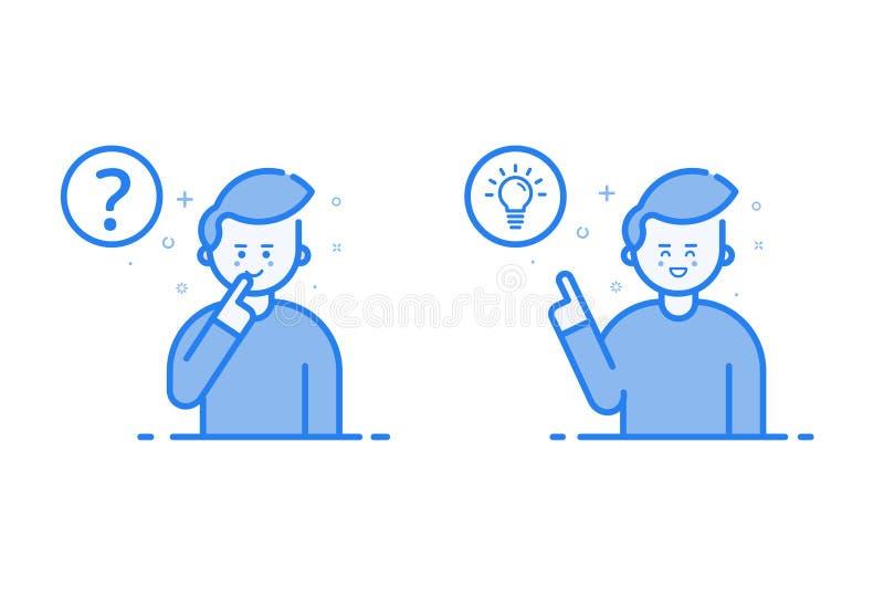 Vector Illustration in der flachen linearen Art und in den blauen Farben - Lösen- von Problemenkonzept lizenzfreie abbildung