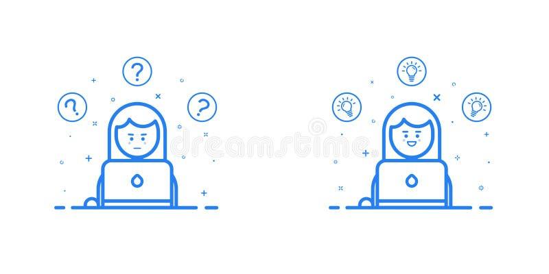Vector Illustration in der flachen linearen Art und in den blauen Farben - Lösen- von Problemenkonzept - denkende Frau - die mit  stock abbildung