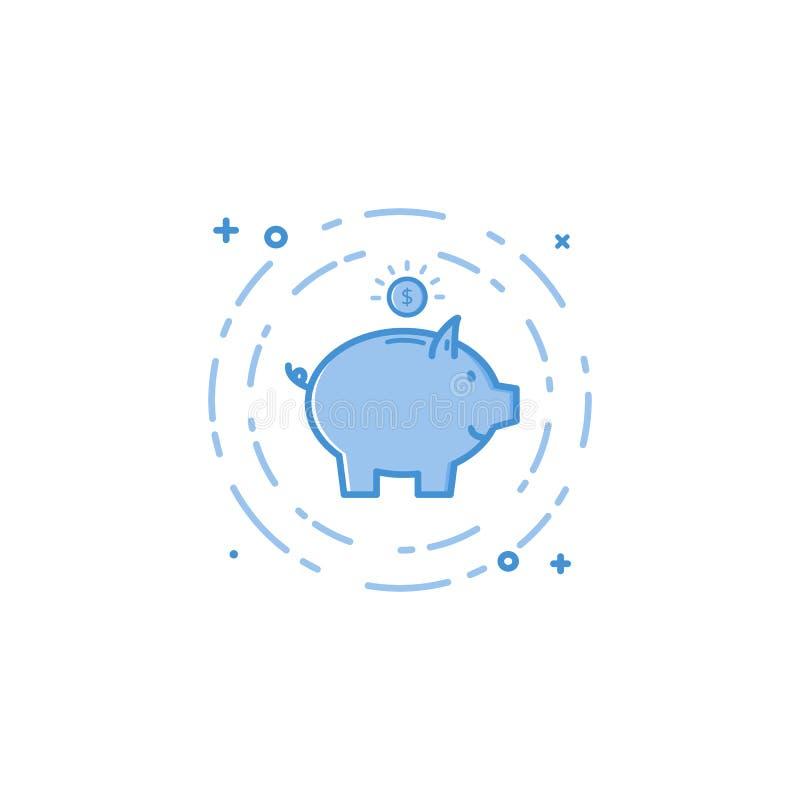Vector Illustration der flachen mutigen Linie Schwein und der Münzenikone lizenzfreie abbildung