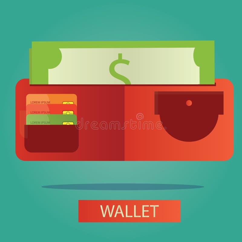 Vector Illustration der Geldbörse mit Karte und Bargeld vektor abbildung