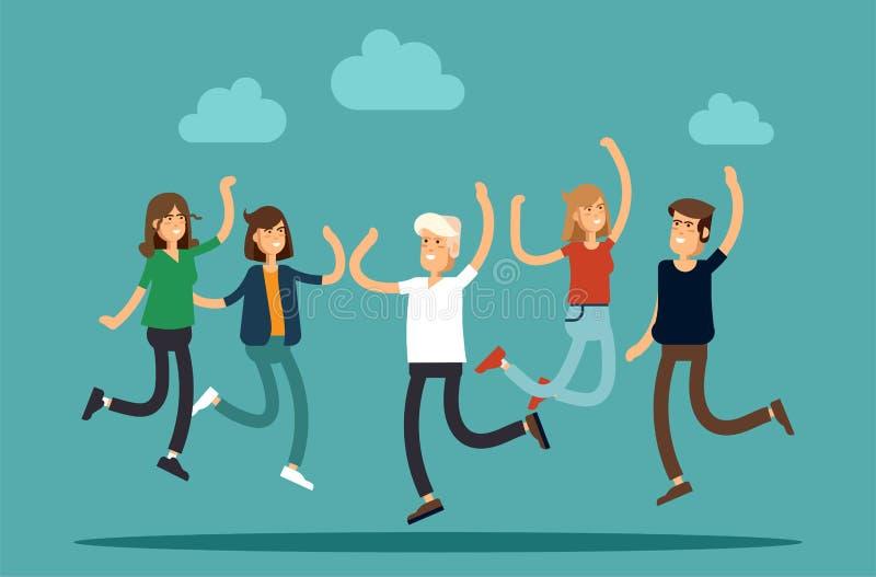 Vector Illustration der glücklichen jungen Gruppe von Personen, die auf einen weißen Hintergrund springt Das Konzept der Freundsc lizenzfreie abbildung