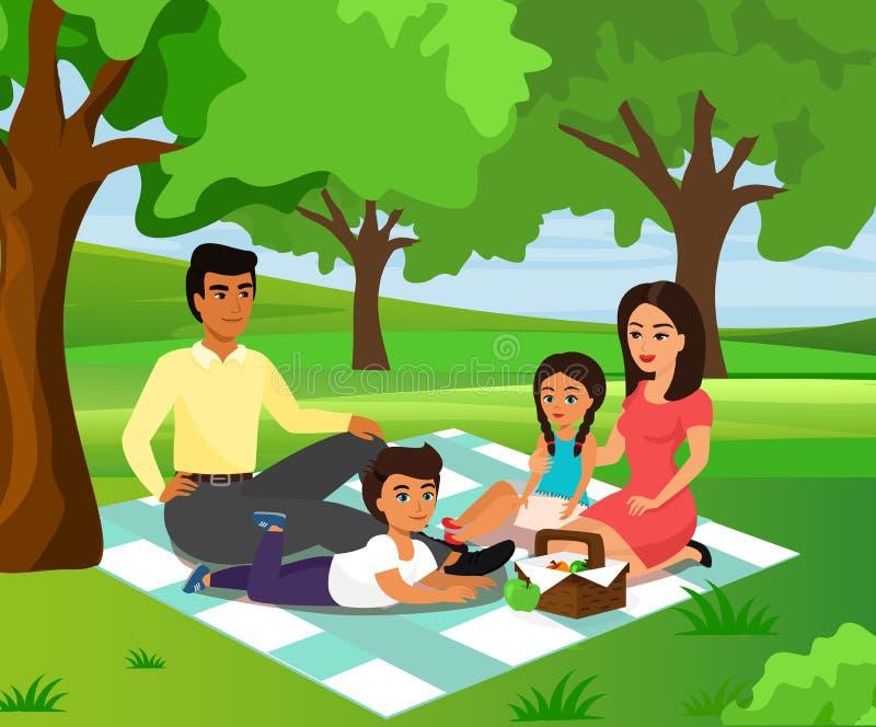 Vector Illustration der glücklicher und smileyfamilie auf einem Picknick Vati, Mutter, Sohn und Tochter stehen im Naturhintergrun vektor abbildung