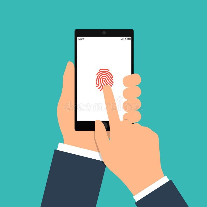 Vector Illustration der Identifizierung des Fingerabdruckes auf Smartphone in der flachen Art Konzept der Illustration von vektor abbildung
