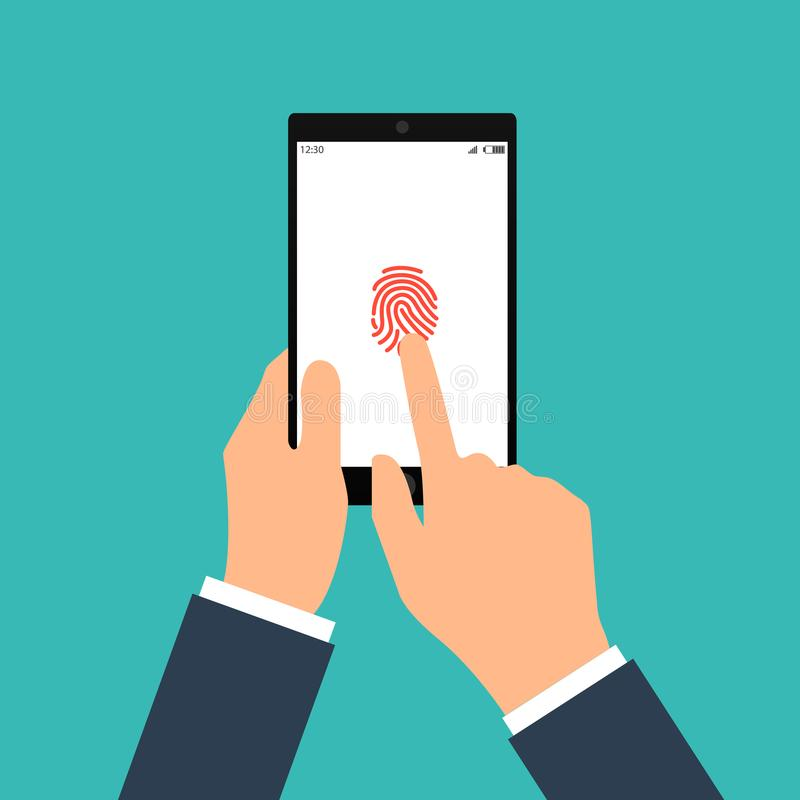 Vector Illustration der Identifizierung des Fingerabdruckes auf Smartphone in der flachen Art Konzept der Illustration von lizenzfreie abbildung