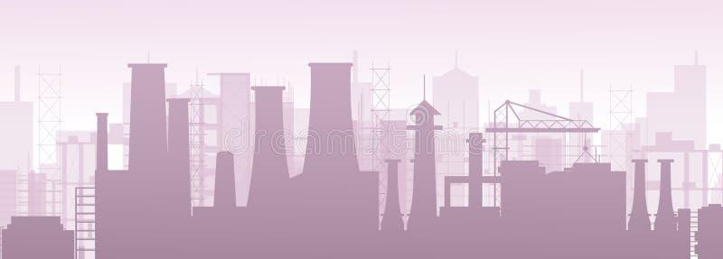 Vector Illustration der industriellen chemischen petrochemischen Öl- und Gasraffinerieanlage Fabrikverschmutzungslandschaft lizenzfreie abbildung