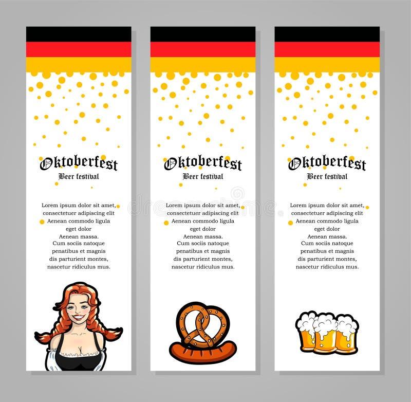 Vector Illustration der Kellnerin, Becher Bier, Wurst Für Fahne, Broschüre oder Flieger Oktoberfest-Designschablone lizenzfreie abbildung
