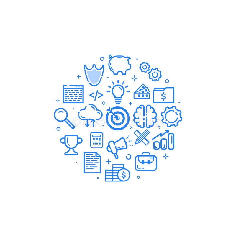 Vector Illustration der kreisförmigen blauen Ikone in der flachen Linie Art Konzept des Entwurfes des Geschäfts, beginnen oben, M lizenzfreie abbildung