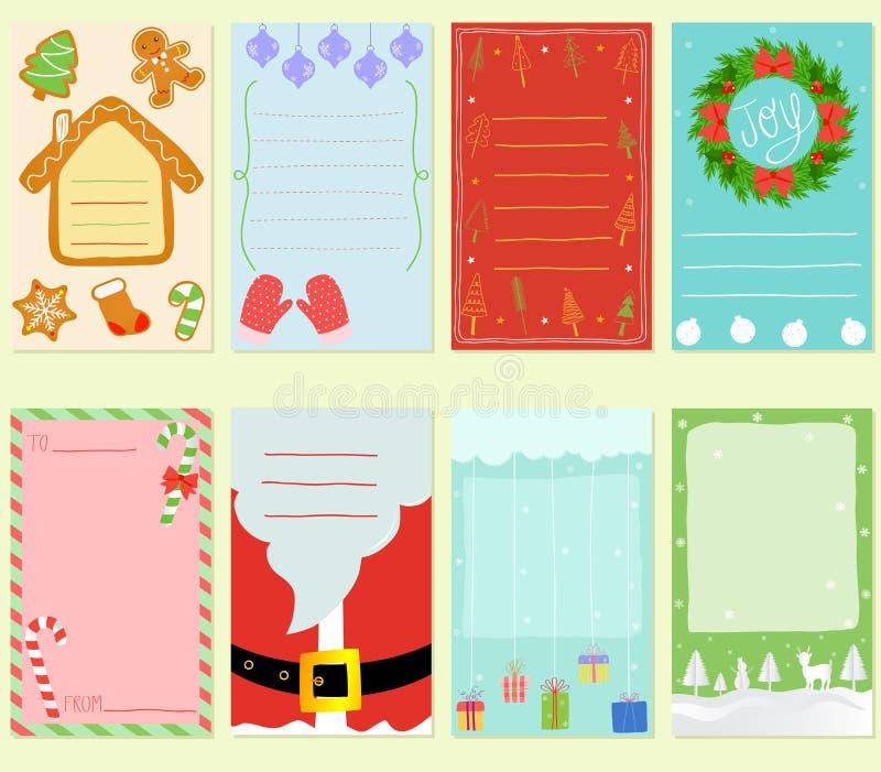 Vector Illustration der leere einfache Hand gezeichneten Weihnachtskarte herein lizenzfreie abbildung
