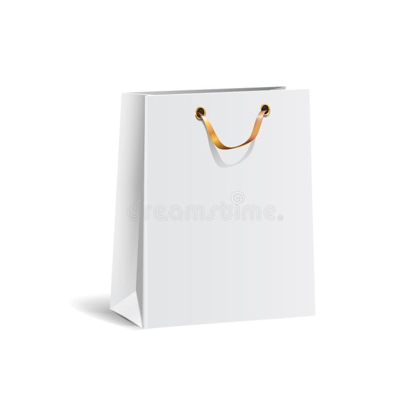 Vector Illustration der leeren Weißbucheinkaufstasche des Geschenks mit dem Goldband für die Werbung und brennen ein Lokalisierte stock abbildung