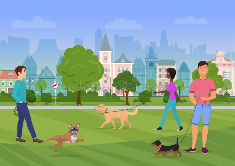 Vector Illustration der Leute, die mit Hunden im Stadtpark gehen Leutehundeliebhaber, dogshops vektor abbildung