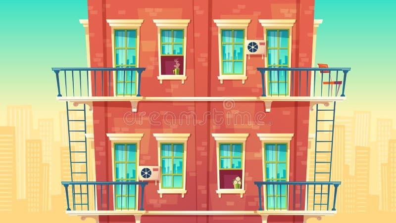 Vector Illustration der mehrstöckigen Wohnung, Haus außerhalb des Konzeptes, privates Gebäude Architektur Promohintergrund lizenzfreie abbildung