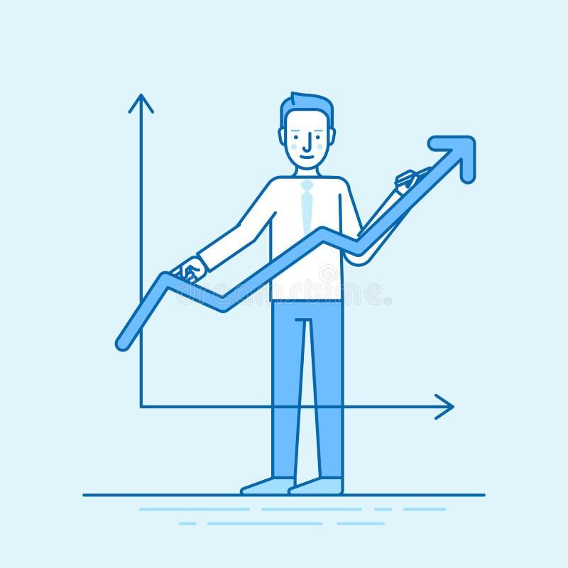 Vector Illustration in der modischen flachen linearen Art in der blauen Farbe lizenzfreie stockbilder