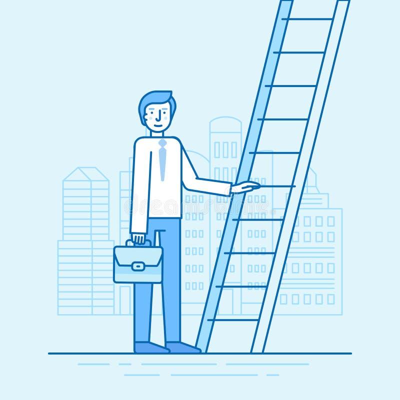 Vector Illustration in der modischen flachen linearen Art in der blauen Farbe lizenzfreies stockbild