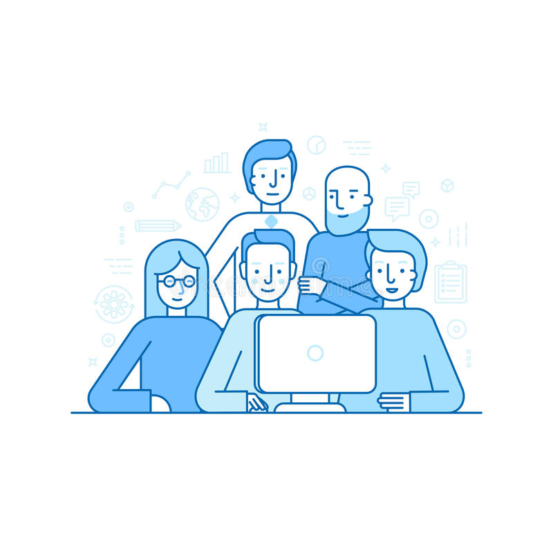 Vector Illustration in der modischen flachen linearen Art - kreatives Team stock abbildung