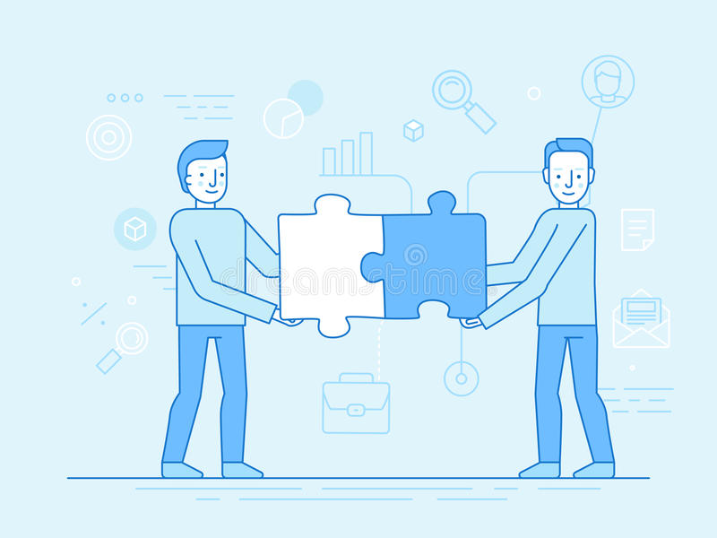 Vector Illustration in der modischen flachen und linearen Art - Teamwork lizenzfreie abbildung