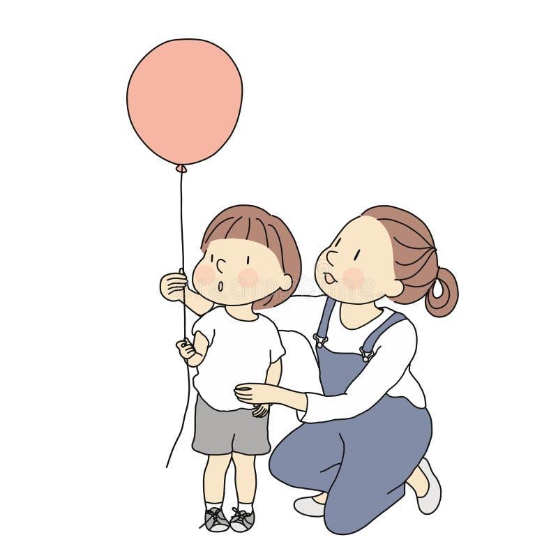 Vector Illustration der Mutter und des Kleinkindes mit rotem Ballon Glücklicher Mutter ` s Tag, glückliche Kinder Tag, Grußkarte  lizenzfreie abbildung