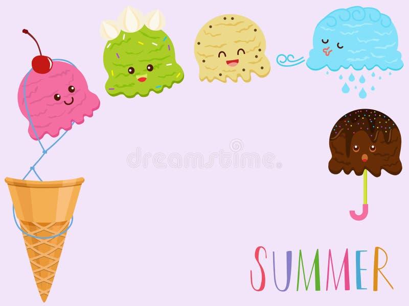 Vector Illustration der netten bunten lächelnden Eiscreme lizenzfreie abbildung
